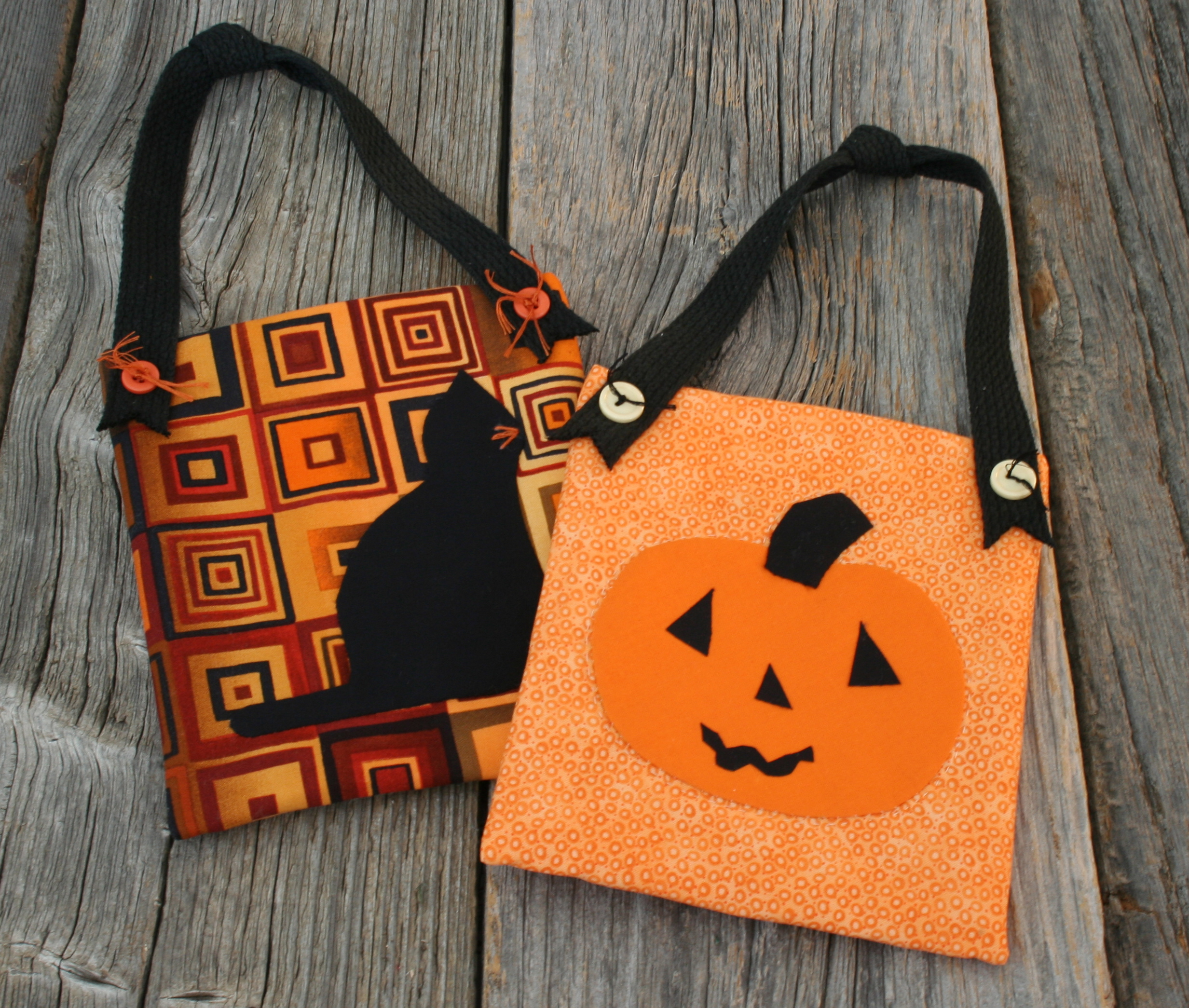 Deco pockets - Halloween cat and jack-o-lantern