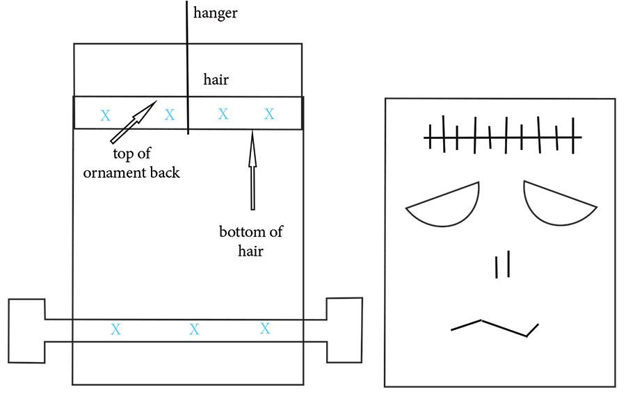 FRANKENSTEIN - INSIDE OF BACK (LEFT) & FRONT APPLIQUE (RIGHT)