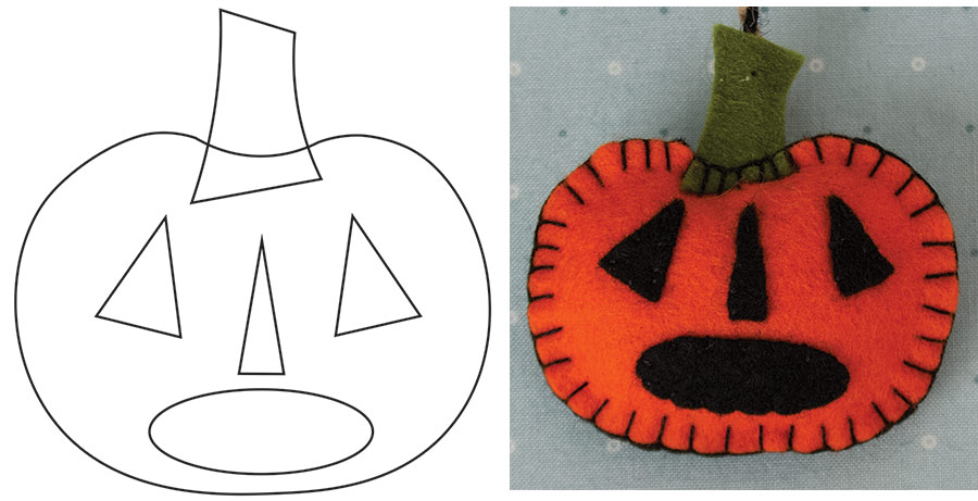 JACK-0-LANTERN PLACEMENT DIAGRAM AND FINISHED ORNAMENT