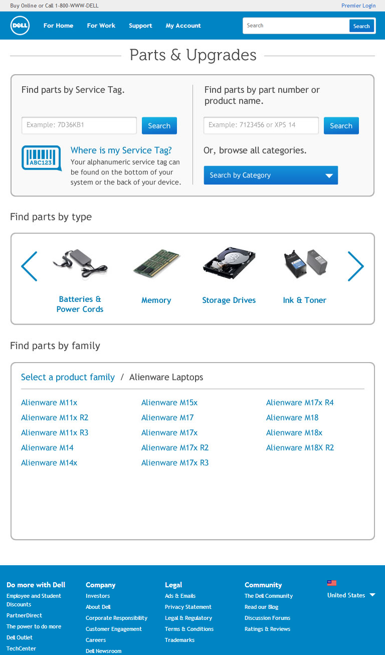Parts & Upgrades product selector