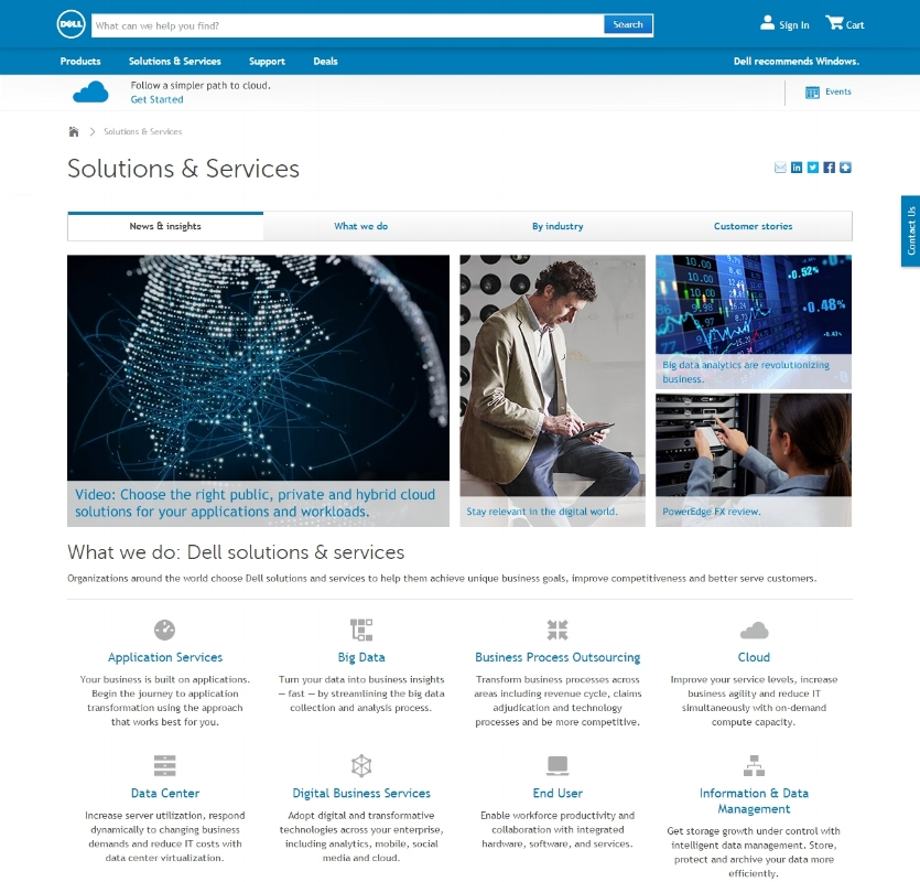 Dell Solutions, Services & Industries - Site redesign, organized content, and resource library