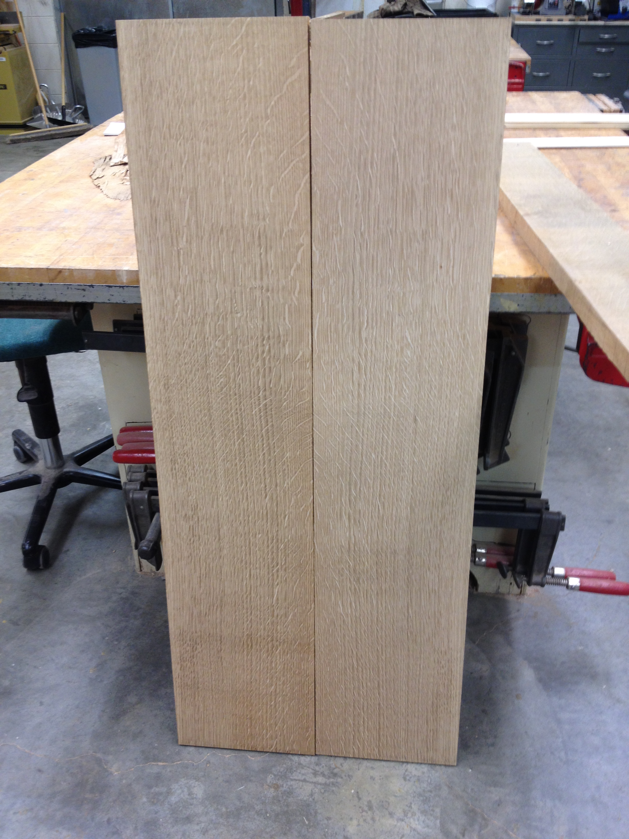 One of the bookmatched quartersawn white oak table tops ready to glue.