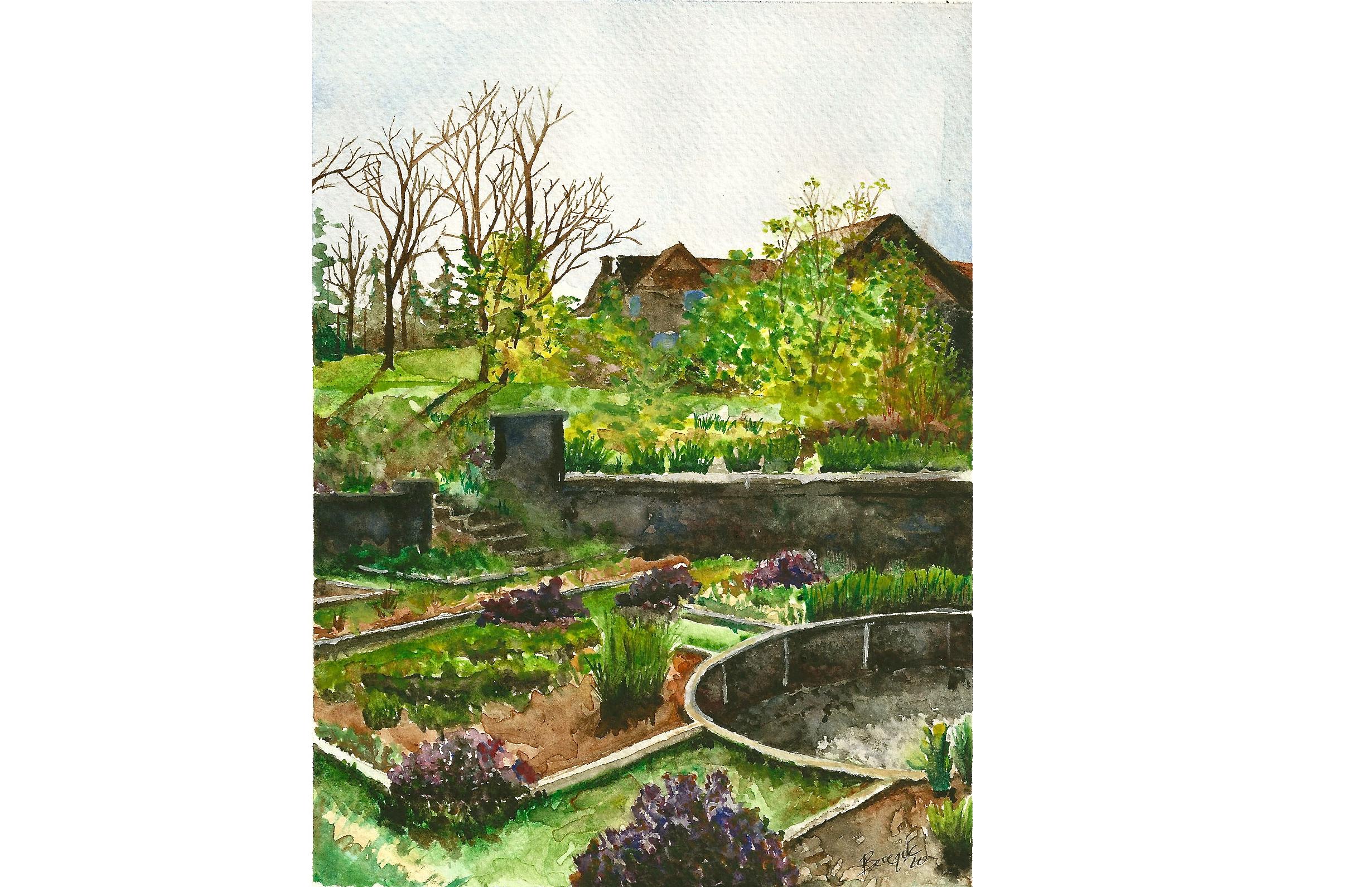 In Turrets Garden,  watercolor