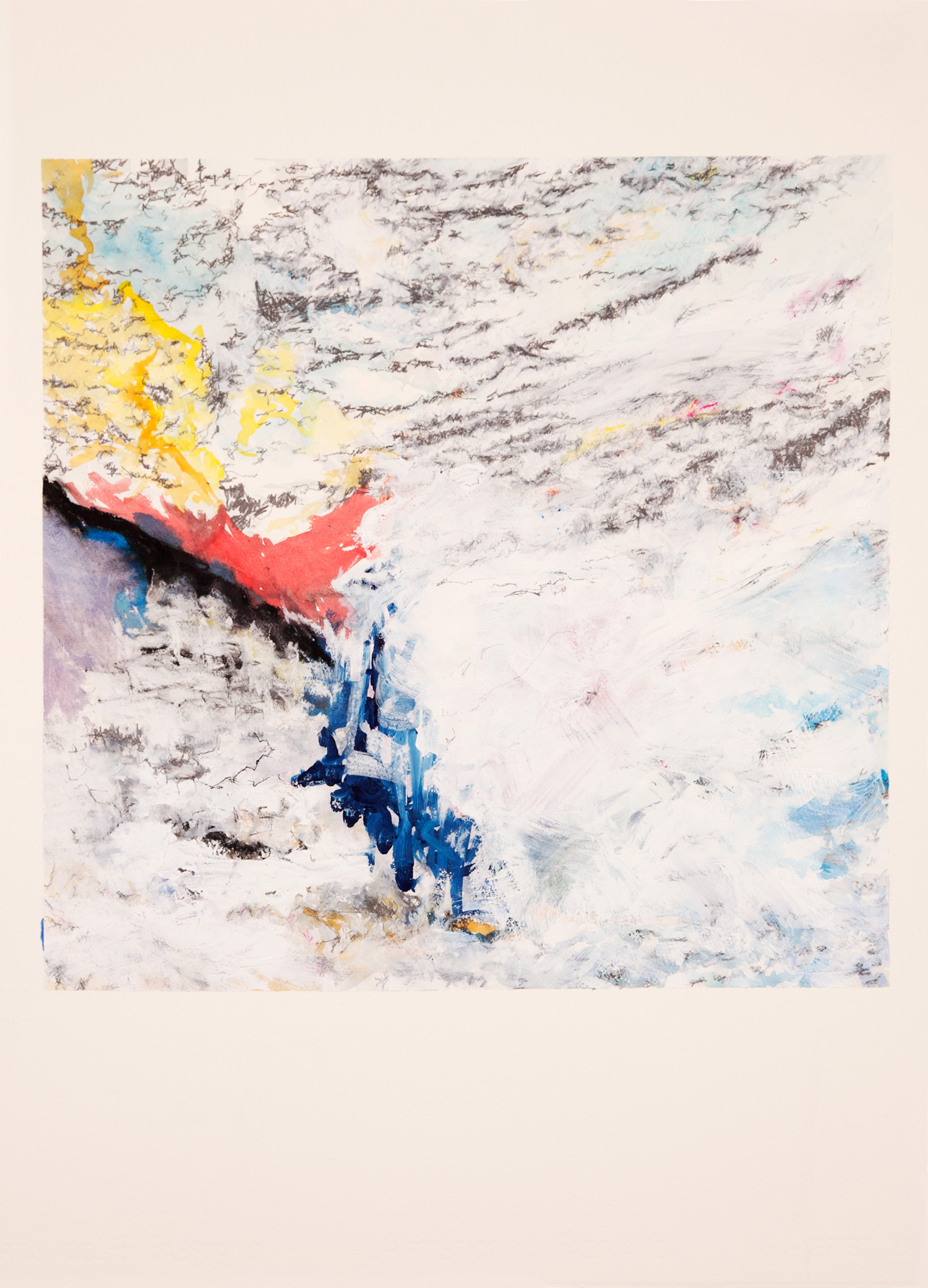 Untitled (the colour of snow), 2015  watercolour, gouache, conte & graphite on paper, 76 x 56cm