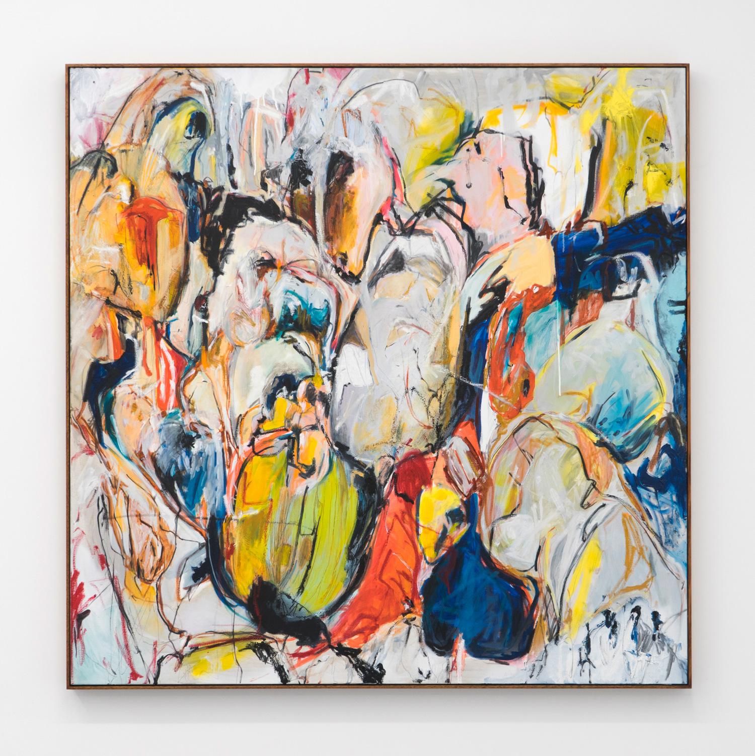 Untitled (Boundary Behaviour II), 2018 oil, enamel & oil stick on linen  139 x 138.5cm (framed)