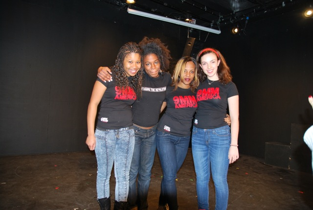 Dominique Fishback, Jai Rafael, Betsy Perez, and Sophie Walker from GIRL BE HEARD, getting ready to perform 9MM AMERICA