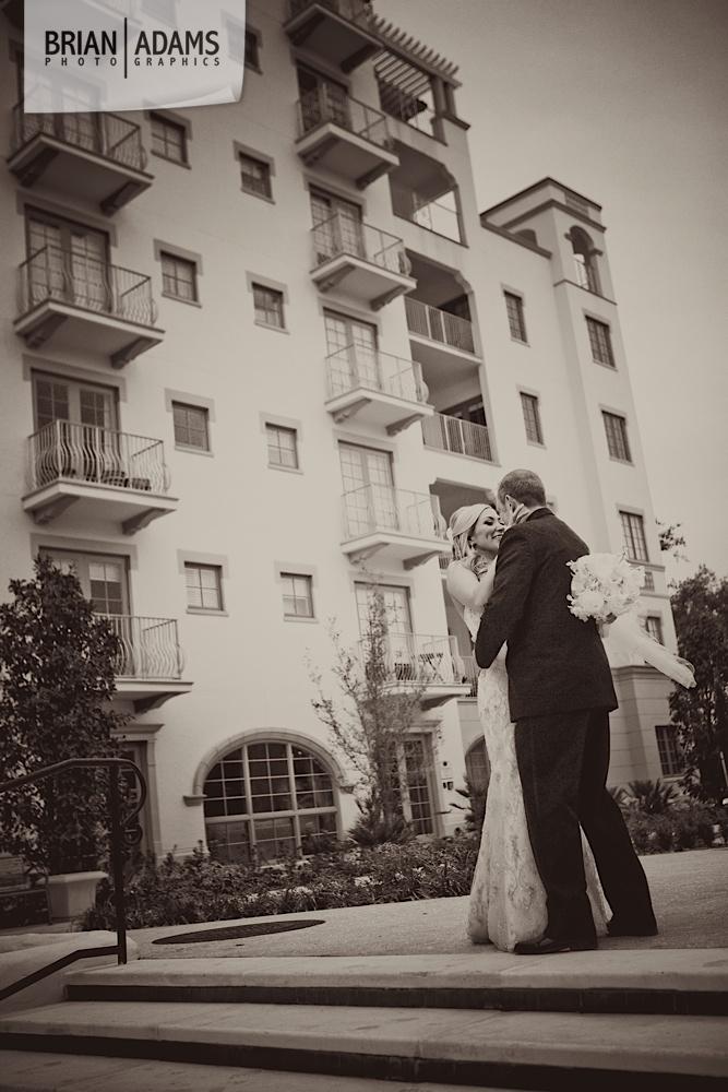 Bride and groom first look at the Alfond Inn, beaded wedding dress, black and white wedding photo by Orlando Florida wedding photographer Brian Adams PhotoGraphics,  brianadamsphoto.com