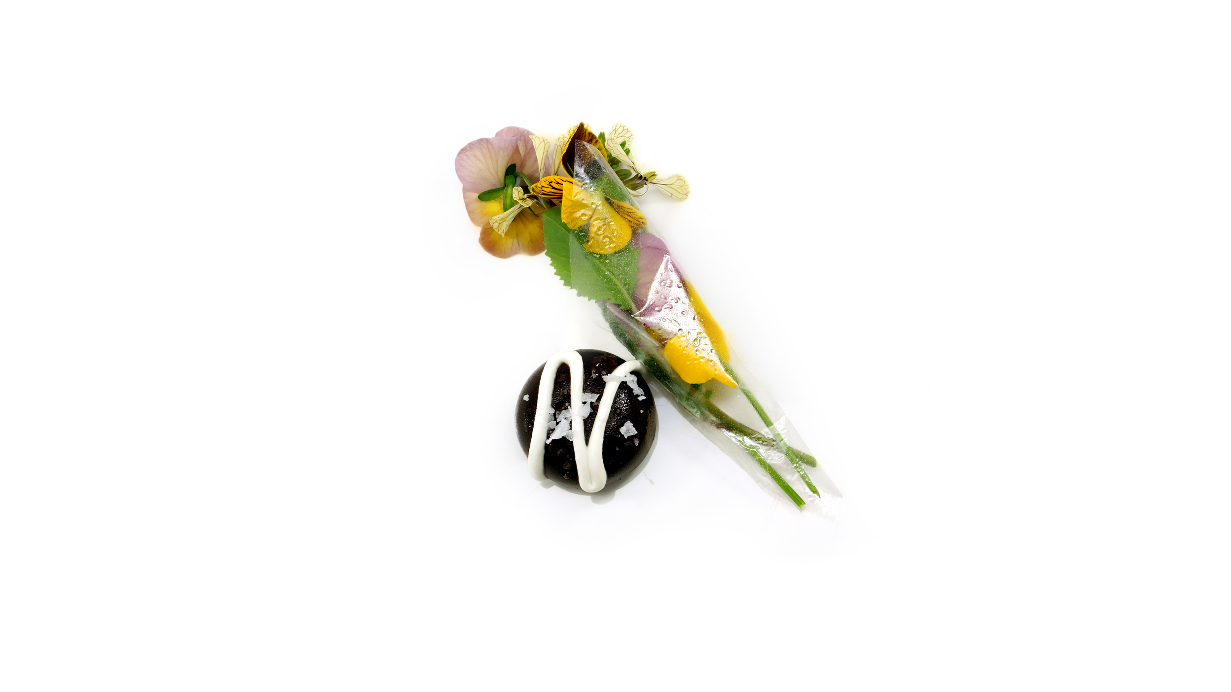 chocolate & flowers |    edible cilant ro bouquet - mole yam chocolate - sour cream - sea salt