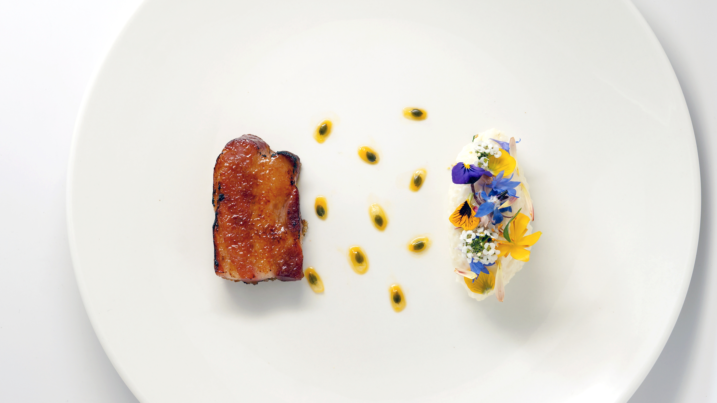 pork belly brulee |   passion fruit - flowers from the garden - carolina gold rice pudding