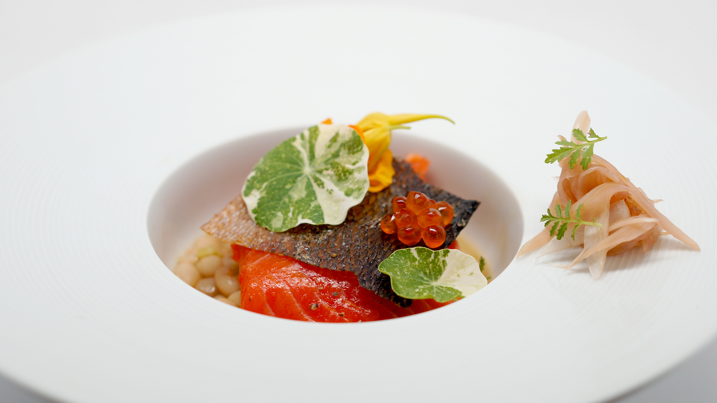 2014.05.21 - salmon bacon, smoked salmon beans, roe, pickled fennel, nasturtiums.jpg