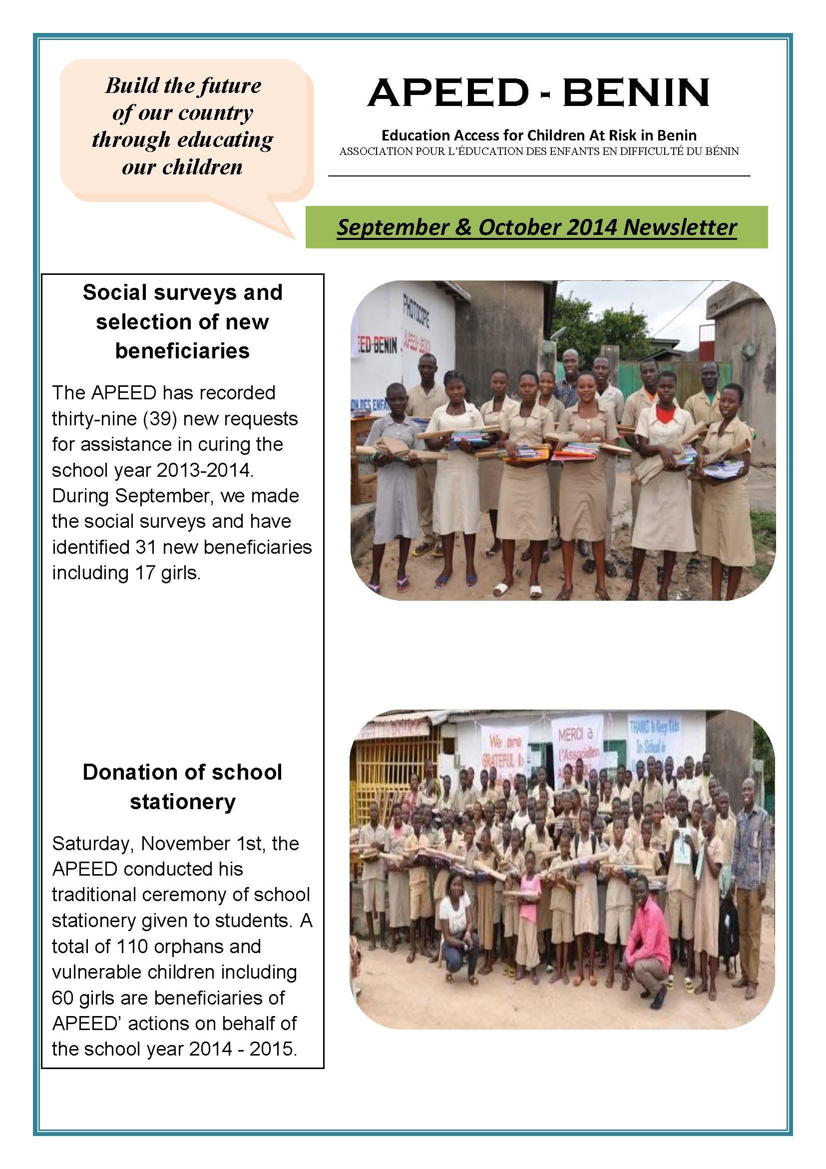 APEED-BENIN September - October Newsletter