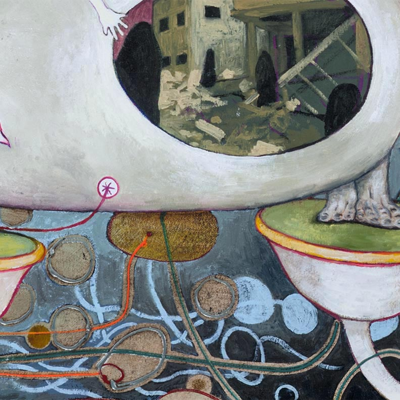 """We try Hard to Prove We Are Not Criminals    DETAIL, 2007, 28"""" x 60"""",Oil paint, Sculpy, found materials on canvas."""