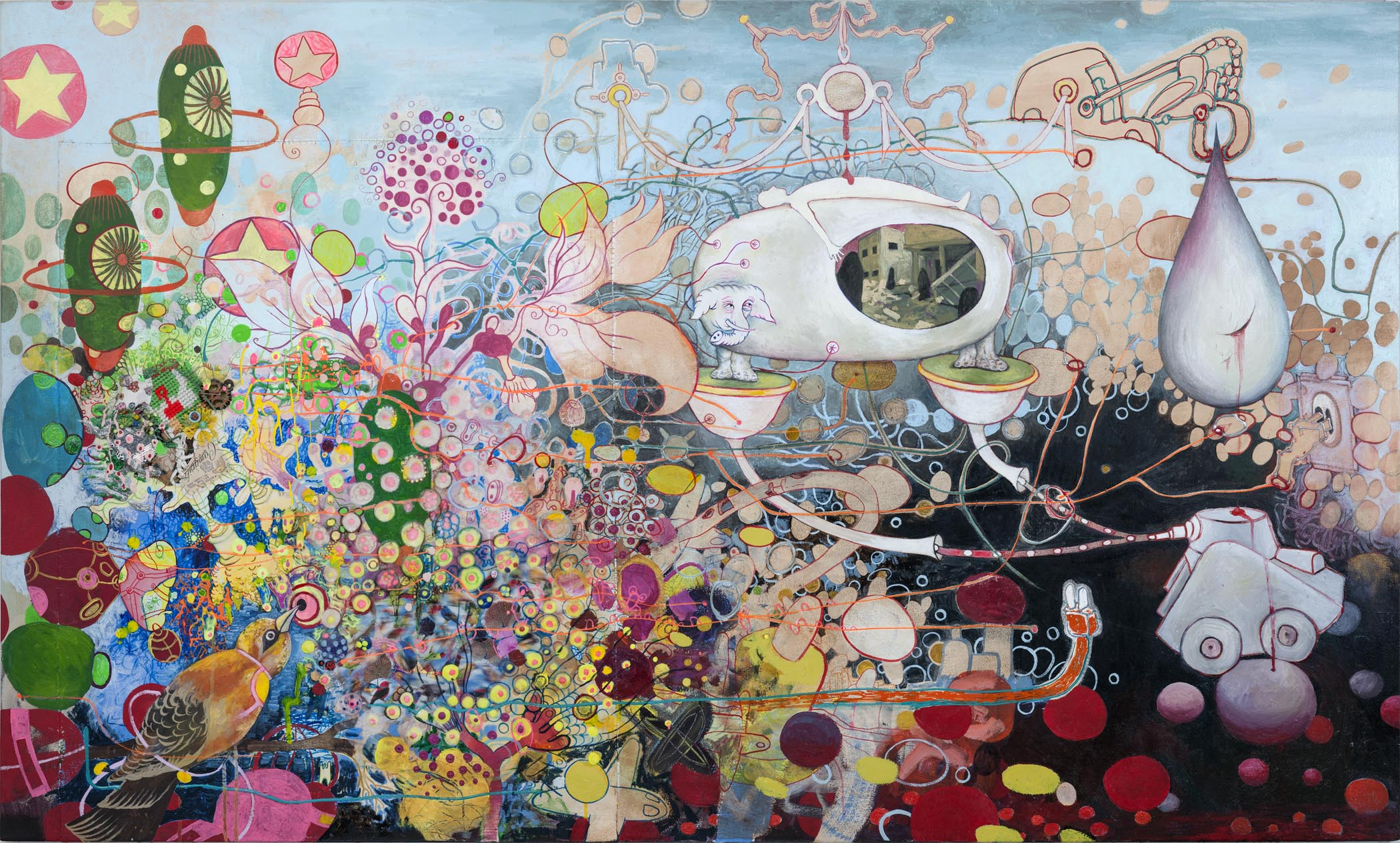 """We try Hard to Prove We Are Not Criminals    2007. 28"""" x 60"""",Oil paint, Sculpy, found materials on canvas."""