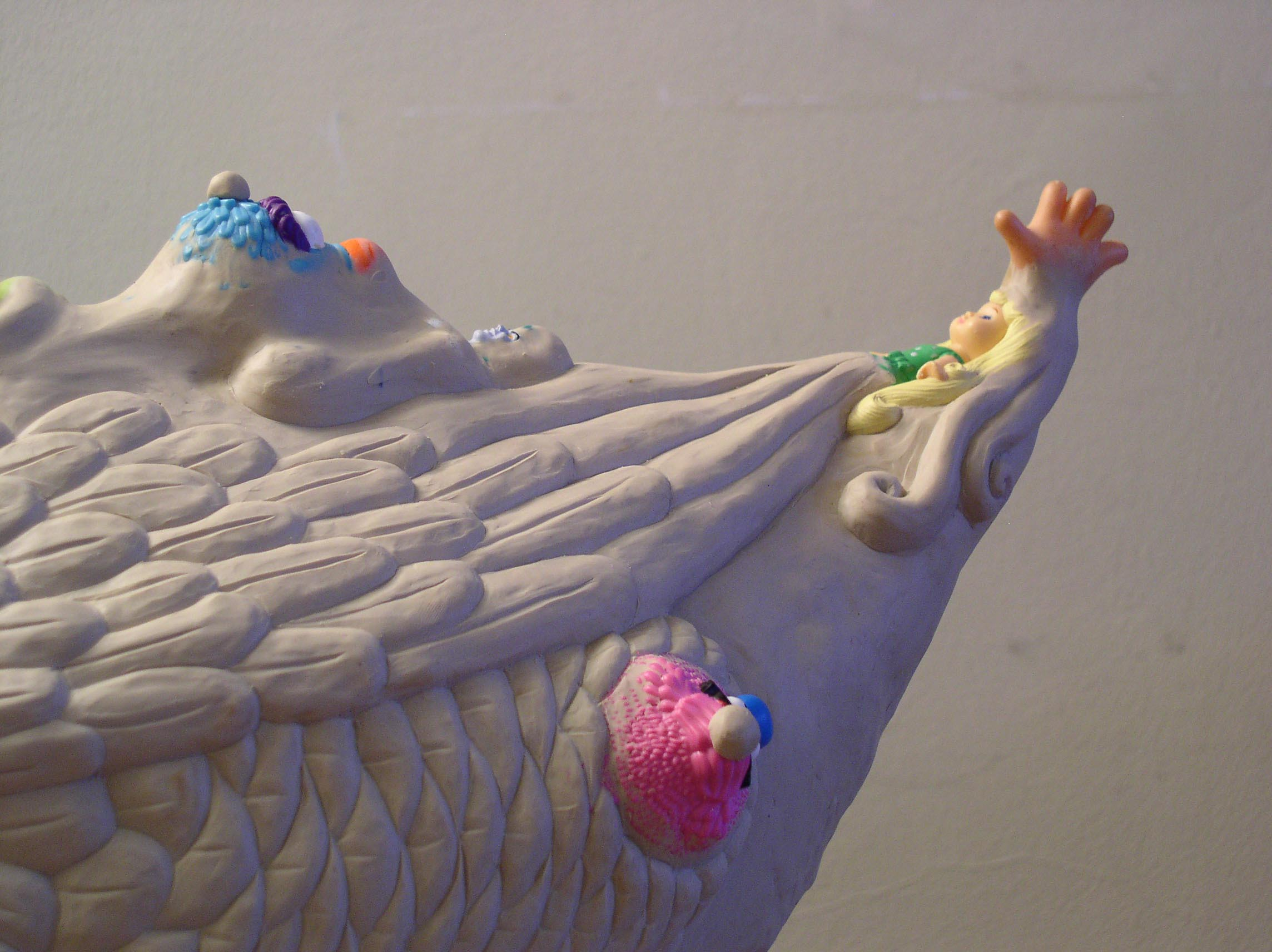 Detail of the Plastilina model for the bronze duck on the  Aqua-Monster Fountains .
