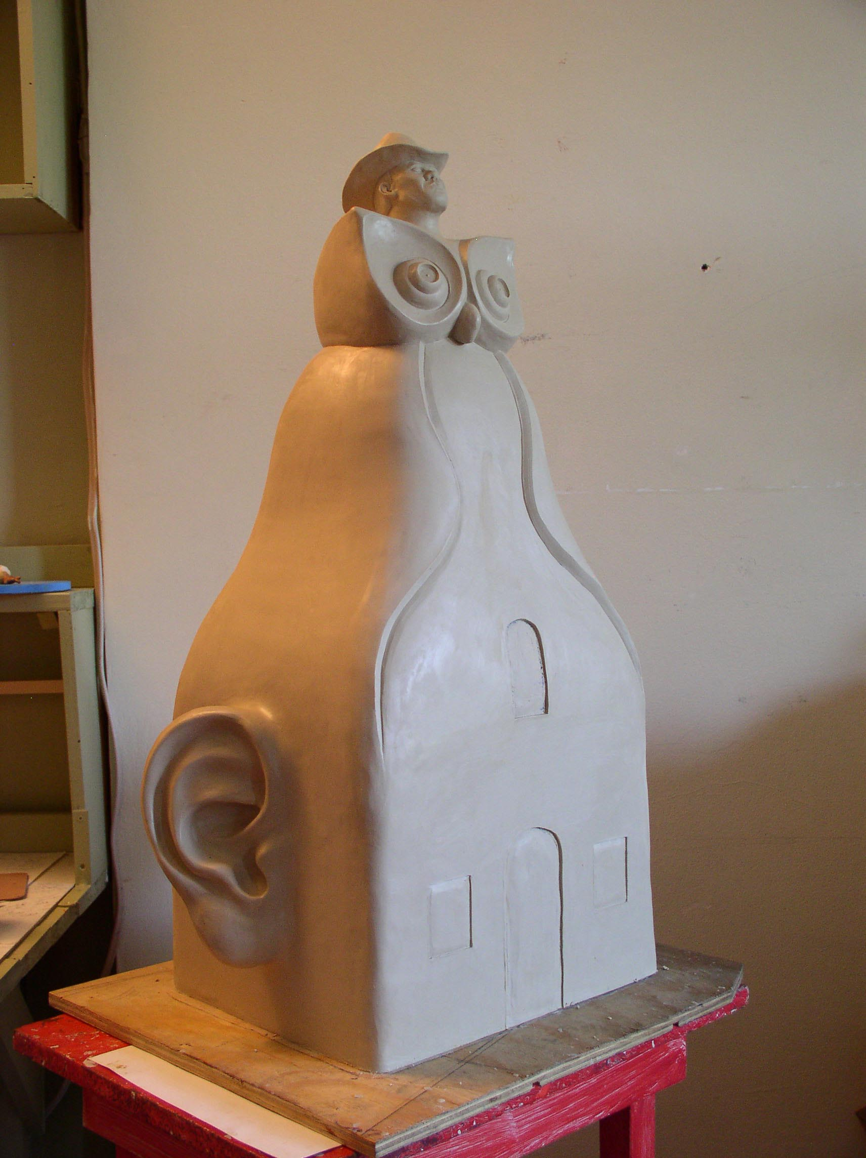 Plastilina model for the bronze  Owl-Cowboy Sculpture . It's about three feet high.