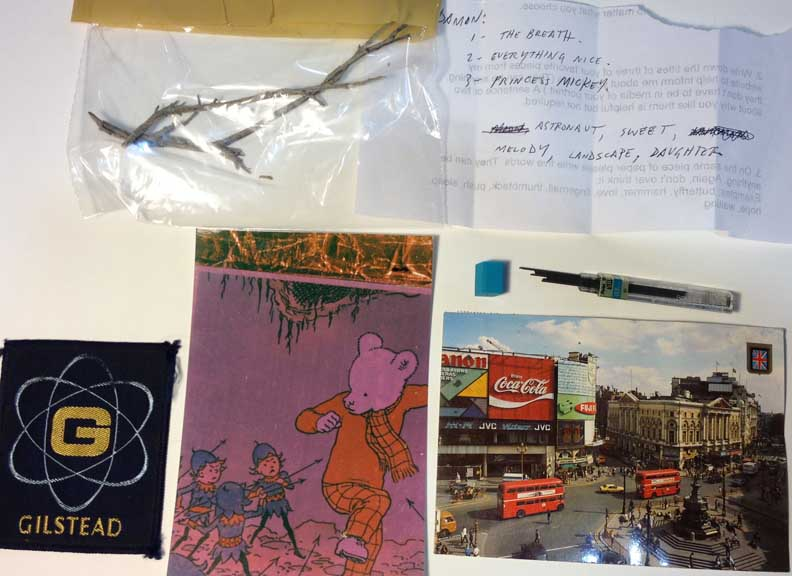 This is an image of the items I received from Damon: Five objects, five words, three titles of pieces I've made.