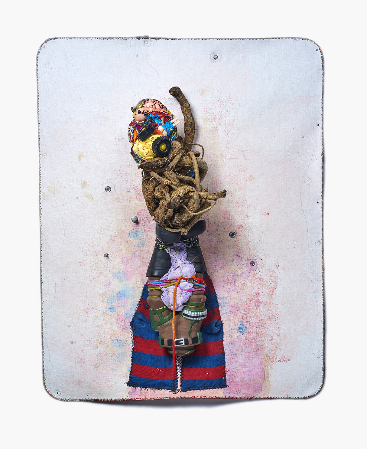 """Nature, Fashion & War , 2016 22 ½"""" x 17 ½"""" x 8"""", canvas, cable, pencil, gouache, thread, acrylic, found objects, metal cable"""