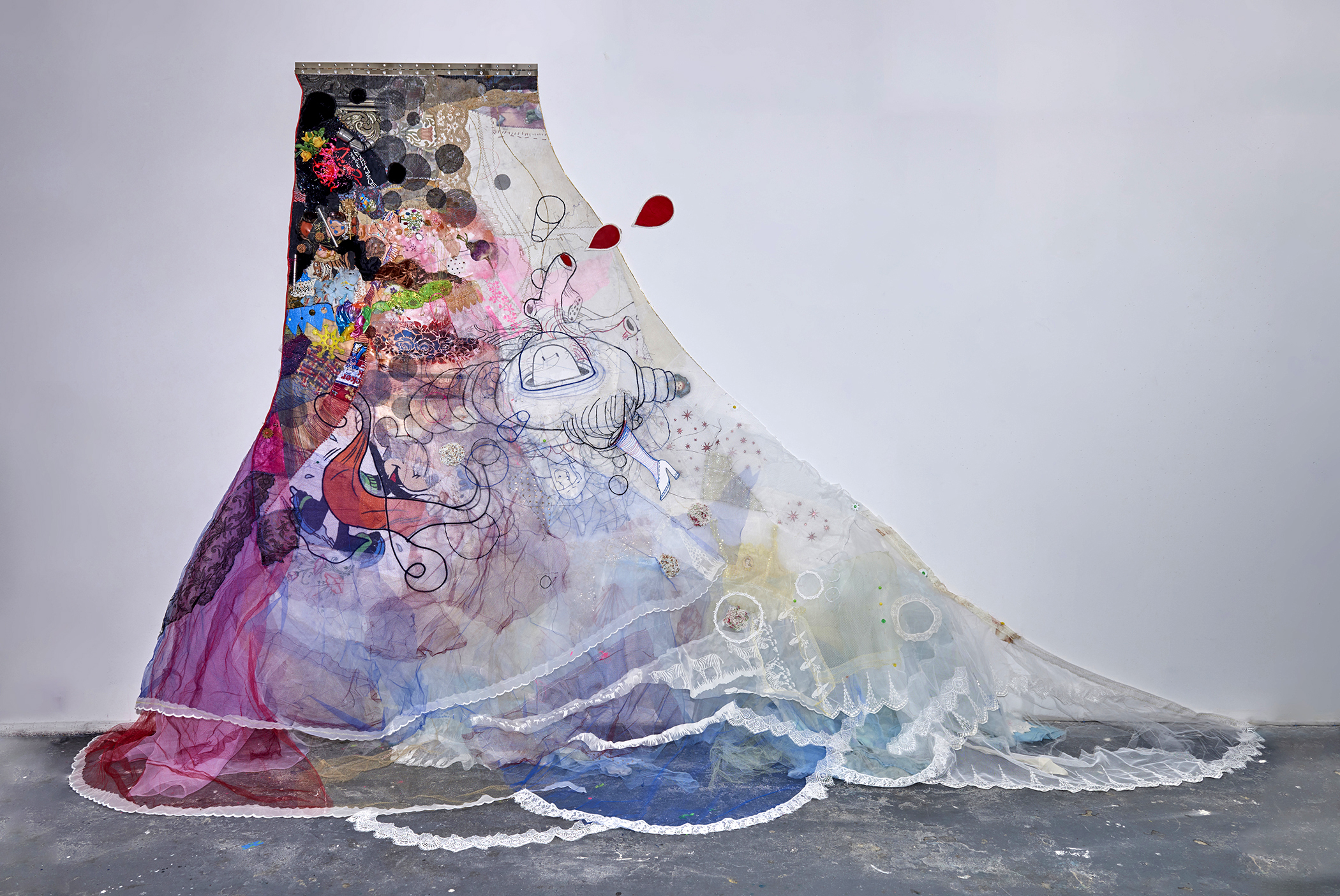 """Toxic Frock :      This Changes Everything by Naomi Klein    2016,84"""" x 156"""" x 10"""", oil paint, gouache, acrylic paint, fabric paint, found objects (including: piano hinge, metal pipe, wind chimes, socks, pot holder, seed pods, towel, trophy, jewelry), thread, fabric & trim on canvas"""