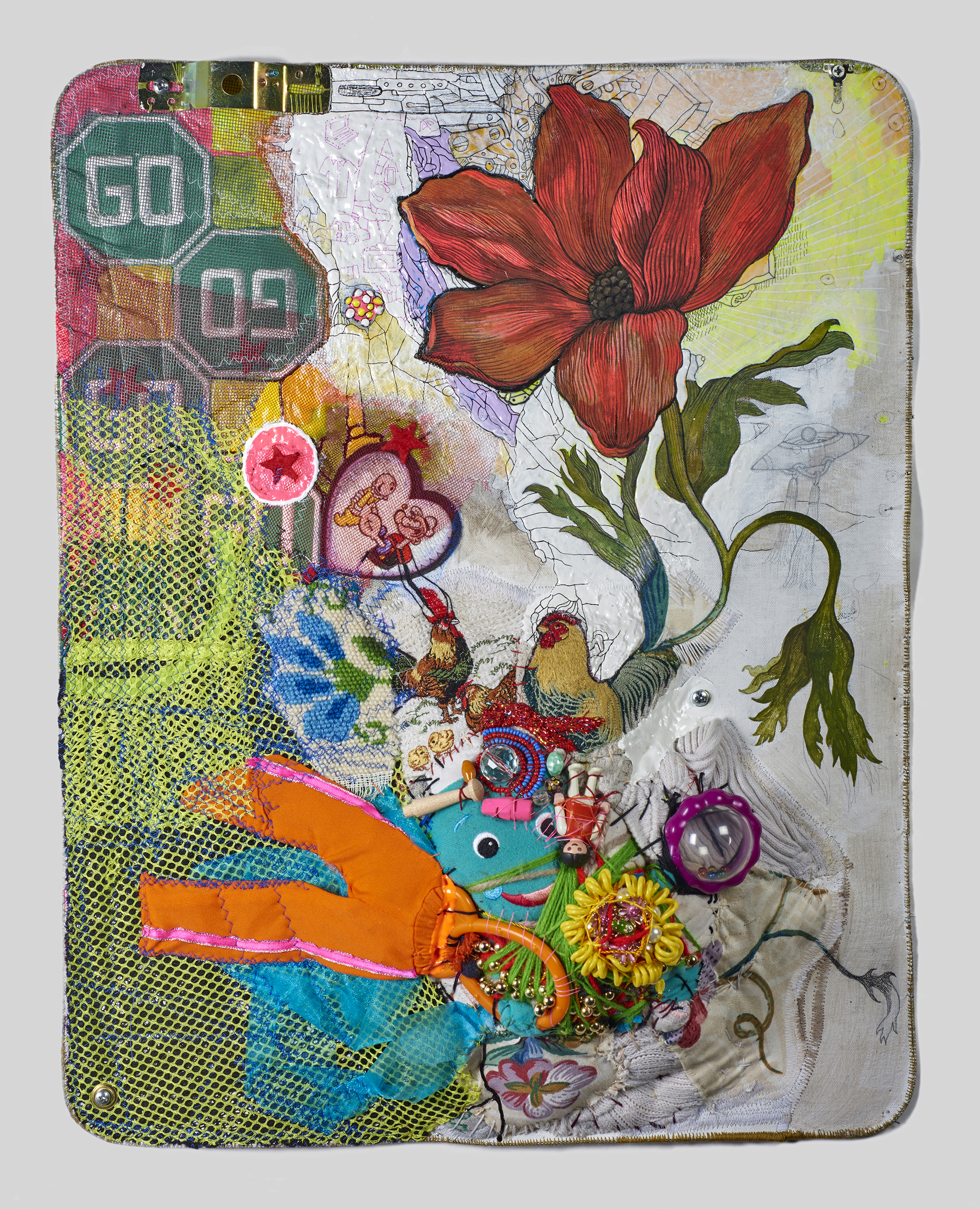 """Hybrid :After Nature by Jedediah Purdy    2017,    22 ½"""" x 17 ½"""" x 5"""", metal cable, pencil, gouache, acrylic, Micron pen, thread, found objects & grommets on canvas"""