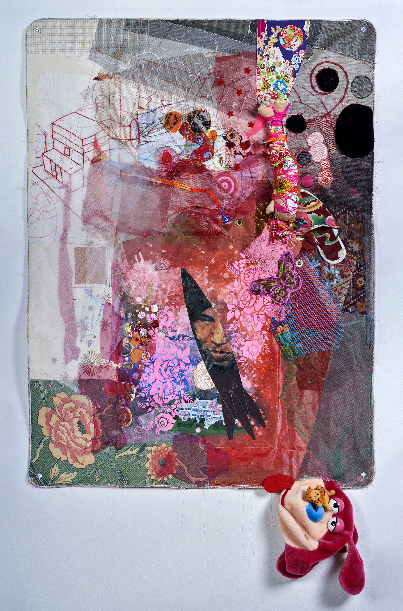 """Rocket Woman and the McMansion :       The Shock Doctrine by Naomi Klein    2016,  65"""" x 39"""" x 3"""",oil paint, gouache, acrylic, paint, fabric paint, thread, found objects, trim, lace & grommets on canvas"""