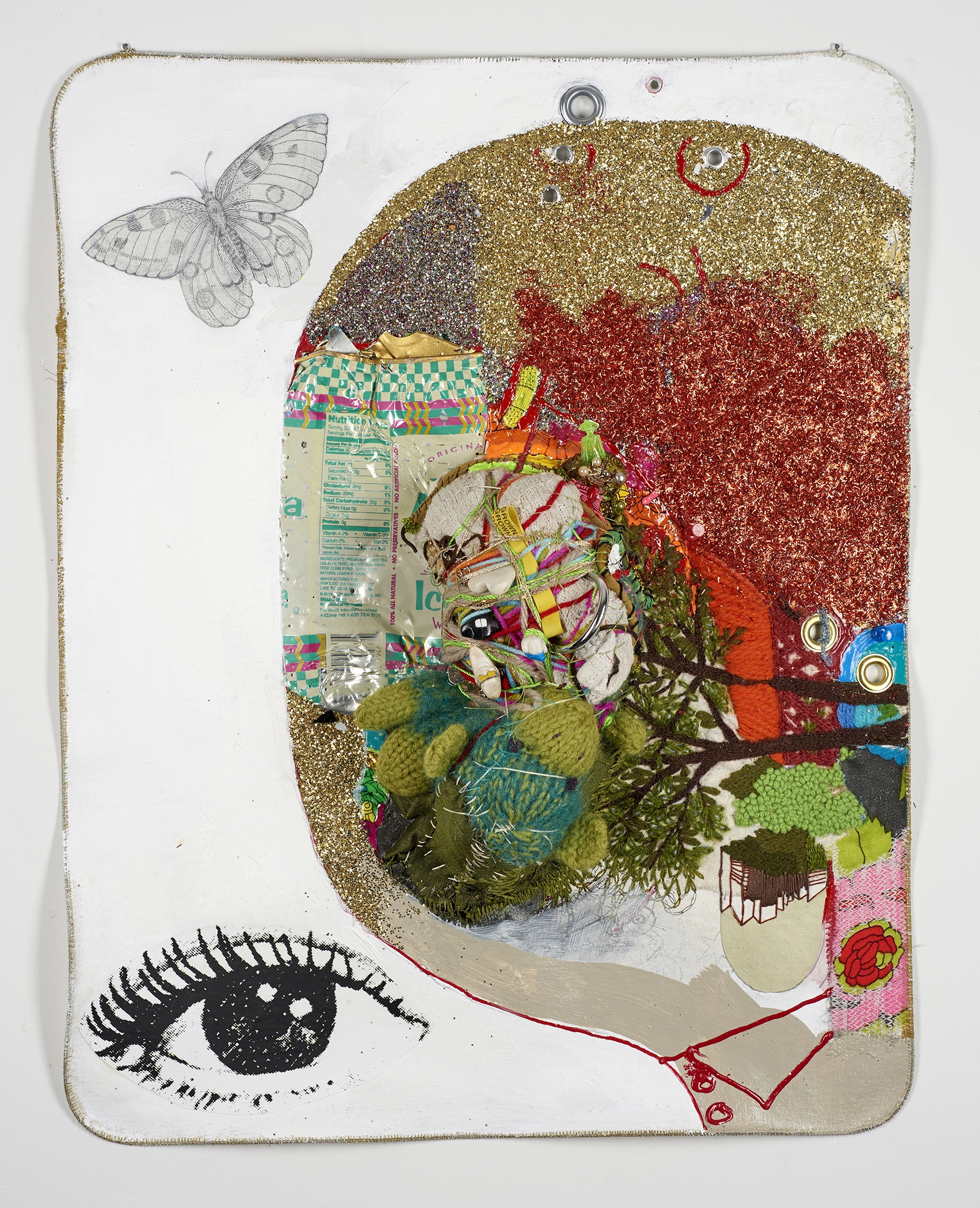 """I, Butterfly    2017,   22 ½"""" x 17 ½"""" x 6"""", metal cable, pencil, gouache, acrylic, Micron pen, glitter, Xerox, thread, found objects & grommets on canvas"""