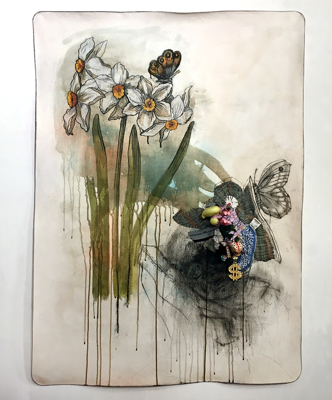 """Water Is Life , 2018, 40"""" x 60"""", canvas, steel cable, gouache, charcoal, fabric, jewelry, toys, maternity underwear, shirts, thread, cord,wire, beads."""