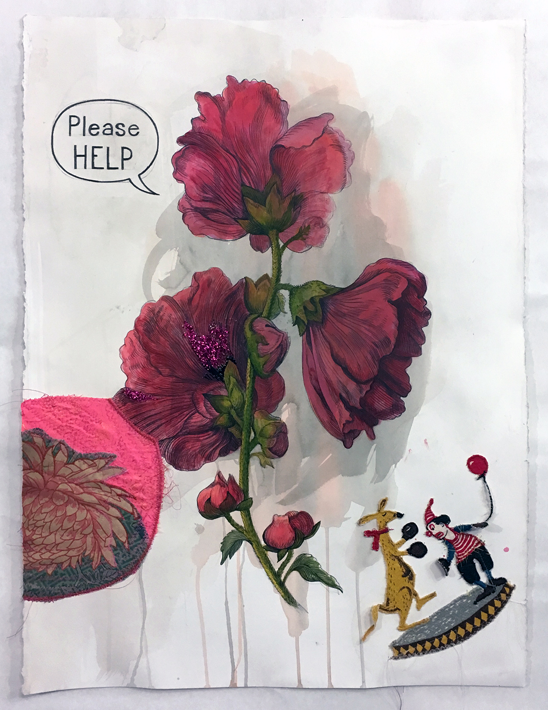 """Please Help ,2018, 22"""" x 30"""" Gouache, colored pencil, fabric, and thread on paper."""