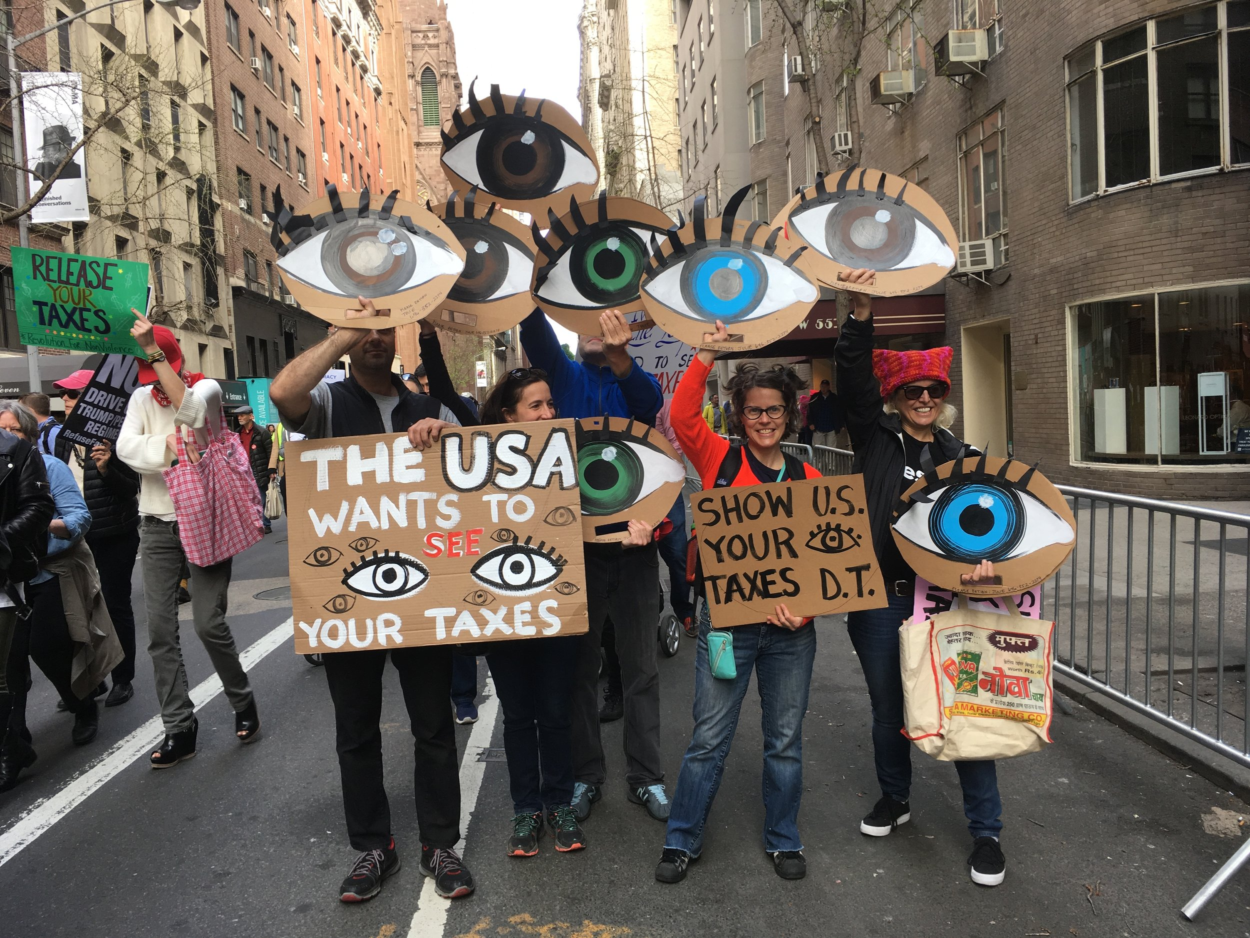 NYC TAX MARCH 2017. Eyes made with the help of some fellow activists.