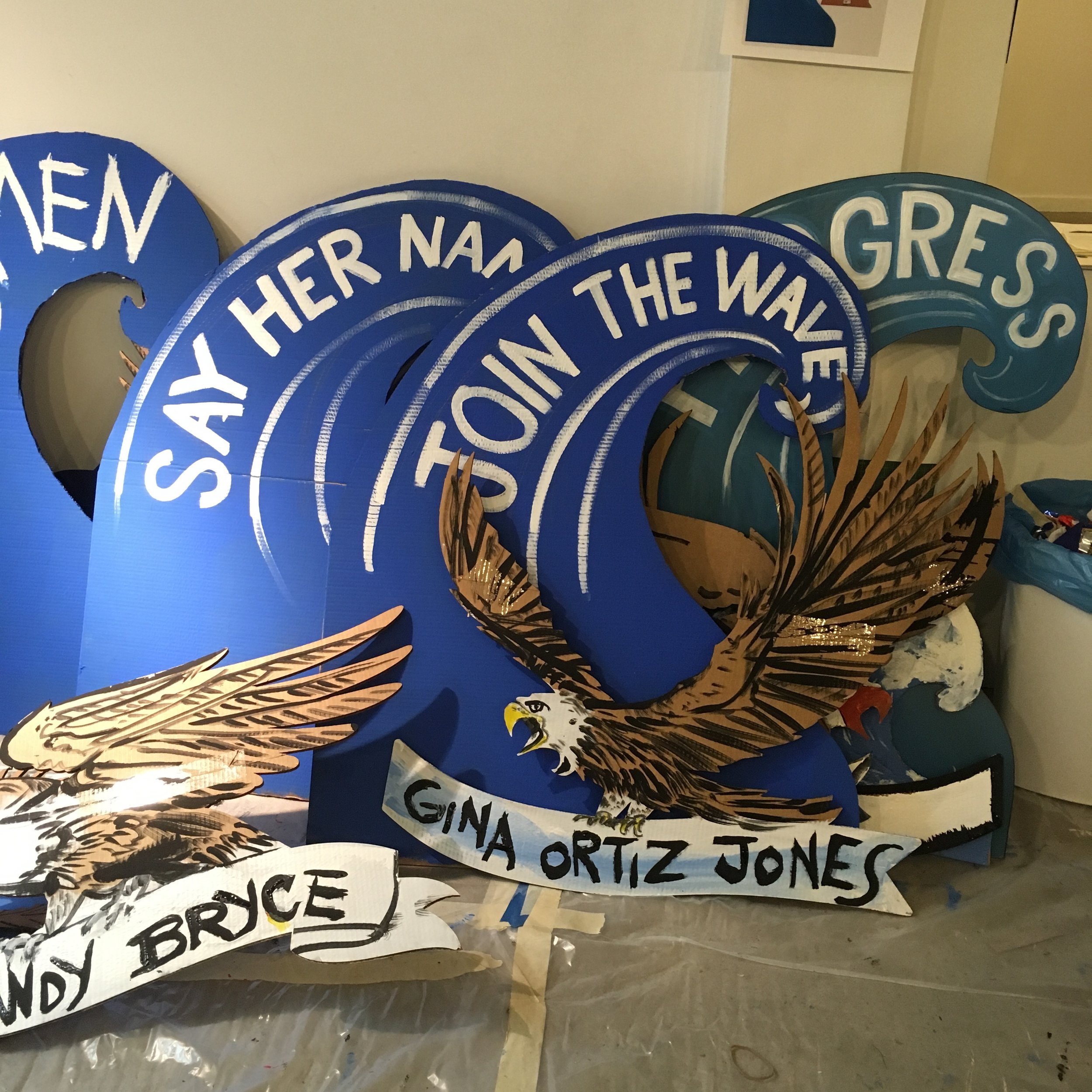 Some of the blue waves and eagles made for the NYC WOMEN'S MARCH 2018 that I made with  We Make America .