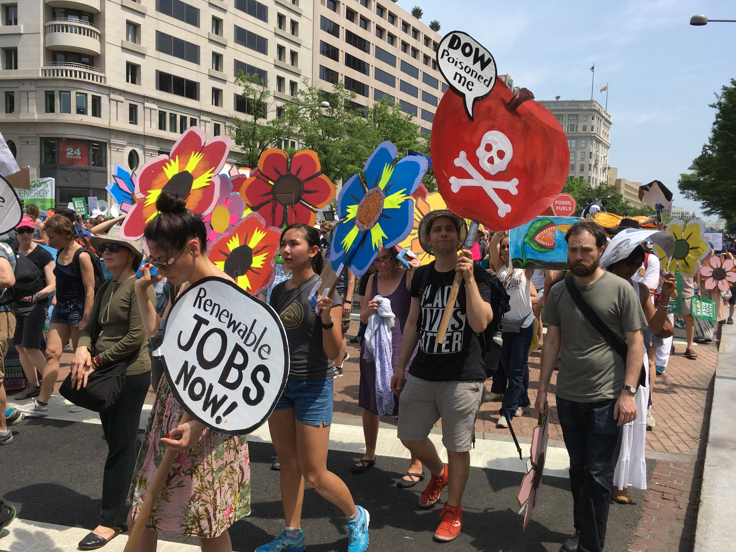 DC CLIMATE MARCH 2017. Flowers made with help from volunteers at  Get Organized Brooklyn  and carried by activist friends and #gobk friends.