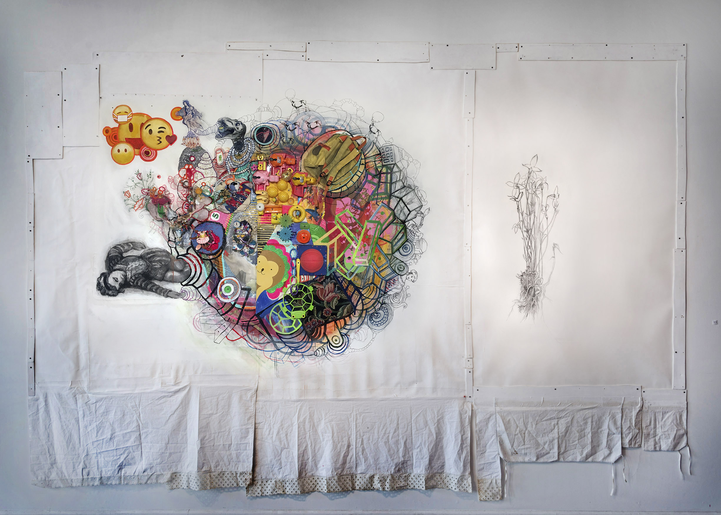 "Wake Up! (Installation view)  2018. 145"" x 84"" x 10"", canvas, trim, thread, acrylic paint, found objects, dimensional fabric paint, fabric, charcoal. To see more detail: Click on image then expand."