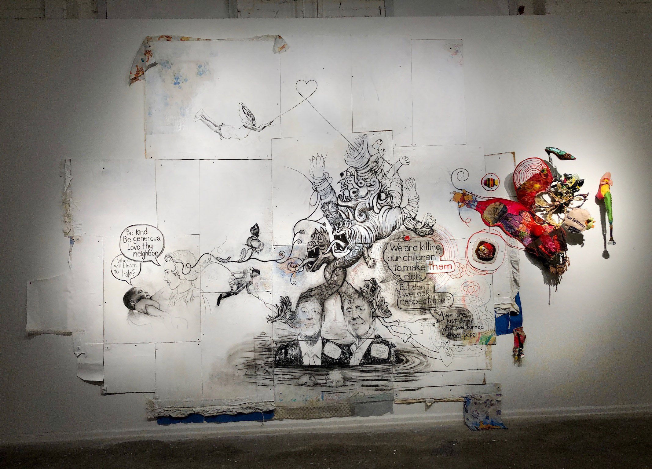 "Leap Out Of Darkness (Thank You Naomi Klein & Jane Mayer),  2018, 192"" x 120"" x 16"", charcoal on handmade cardboard, paper and fabric composite, fabric, fabric paint, acrylic, clay, wire, found objects, screws, beads. To see more detail: Click on image then expand."