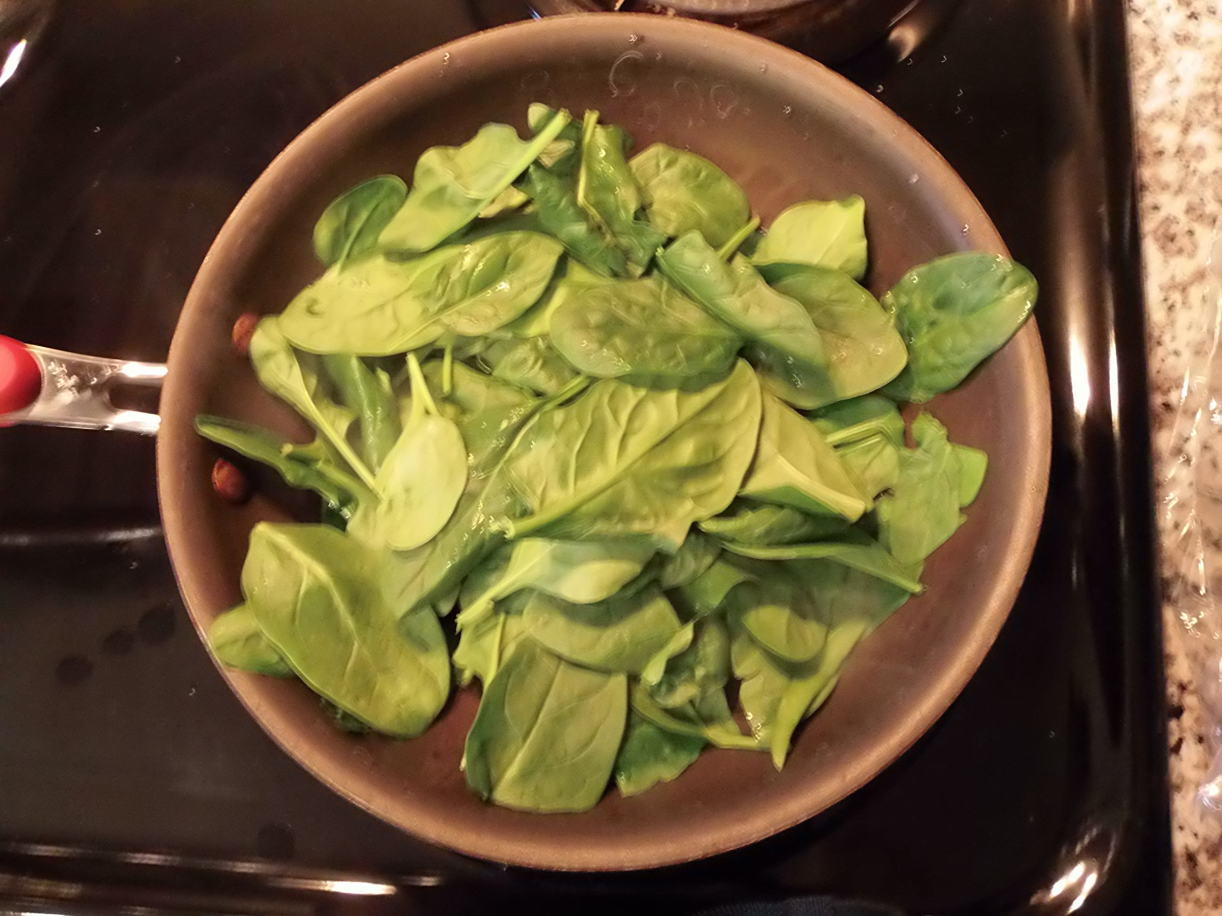 I first cooked down my spinach, so it was nice and soft.