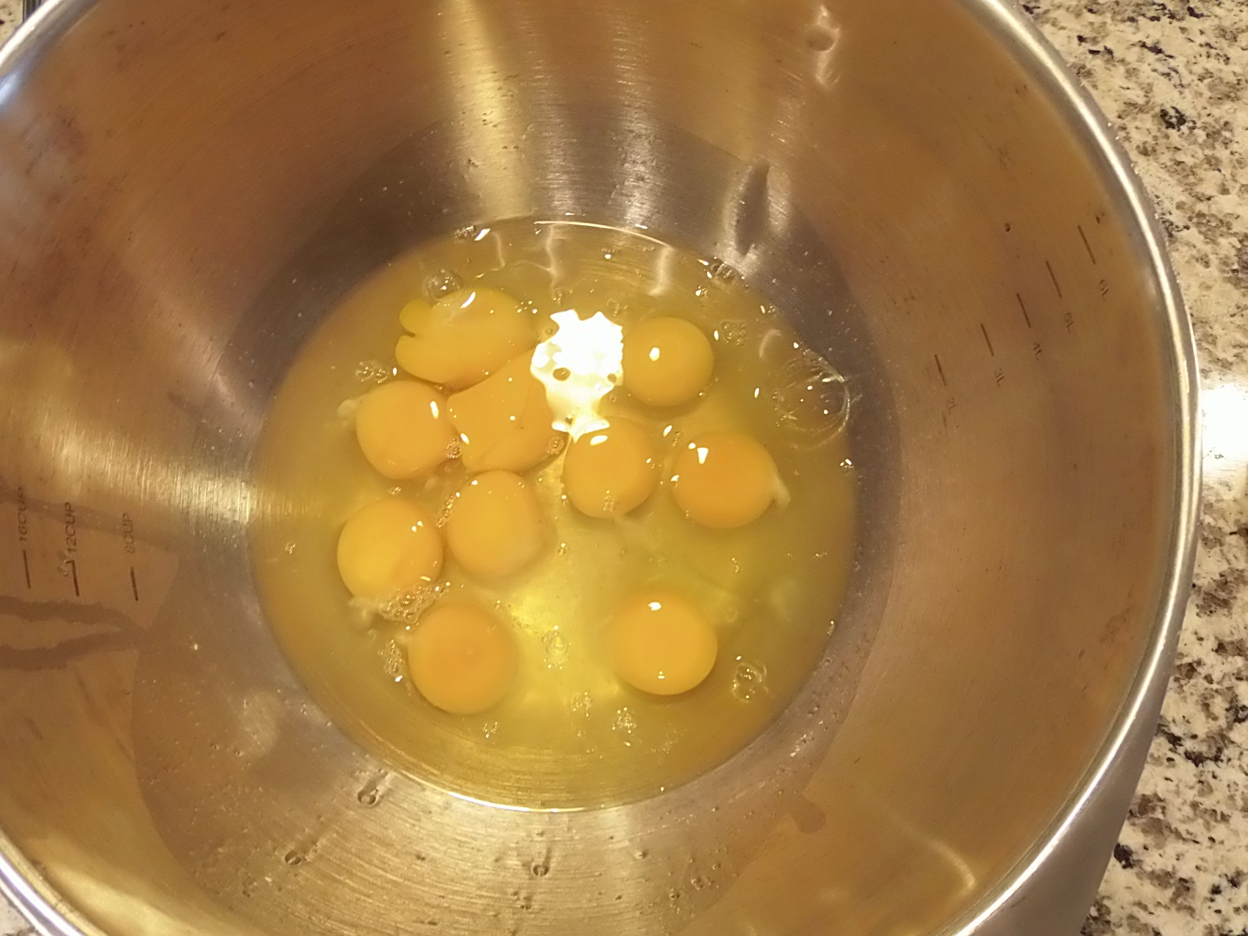 Then I cracked 12 eggs into a bowl...