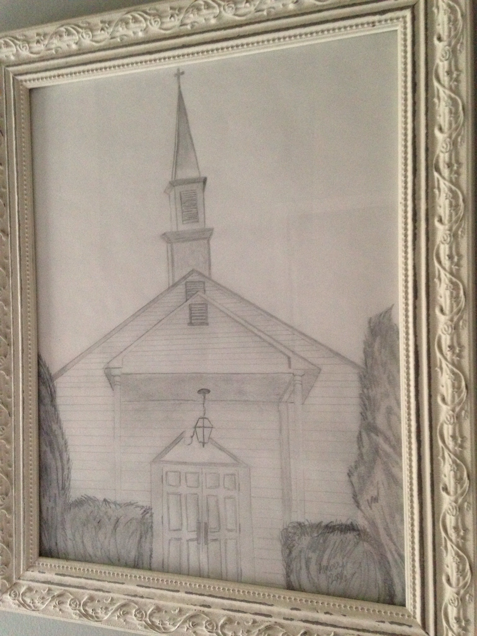 A sketch of the prayer chapel that my sister did.