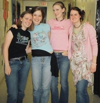 I have no idea the brand here, but it doesn't matter because I loved that shirt. Oh, and it also wasn't mine. (Notice the trend here?) It was my BFF, Sarah's (pictured on the far right) who loved wearing my dress over jeans. And we loved scarves for belts. Yes. We were amazing.