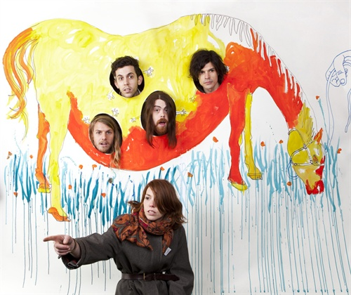 Hannah is a painter, so we let her create the backdrop for their shoot. A pregnant horse with your 4 bandmates in utero? Of course, we'd be delighted. Group Love are wonderfully fun and talented and Christian the singer has vocal power like no one I have ever heard. Serious.