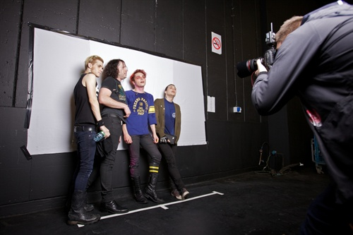 A sneaky peek at a backstage shoot with MCR - an astonishing live act and so perfect for our project. Their production team as well were incredible, so slick. We love that.