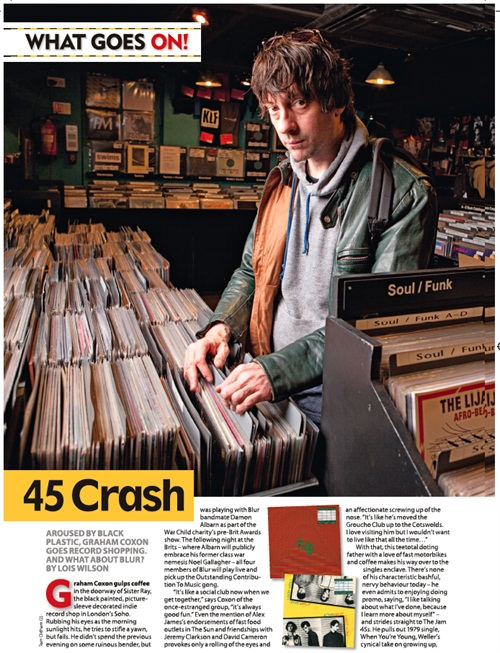 """NOW THIS WAS GOOD. Graham Coxon mooching around Soho selecting his favourite 7""""s for a feature? Yes. I can help with that no problem. A pure delight, great fun, Linus Lucas holding my shanty softbox aloft amongst the crate diggers. Bloody nice assignment, cheers MOJO."""