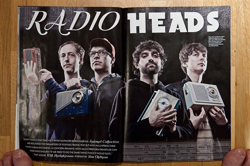 Regular features in this blog, those toes. Nice spread with Animal Collective, hiring vintage radios as props cos it works.