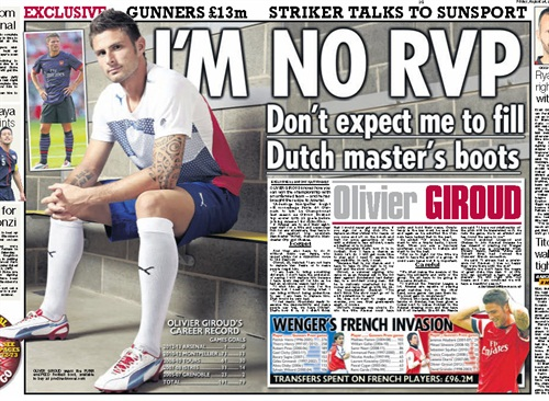 Great to be back shooting sports stars after all the music, and here's a big fat use of one of my shots in The Sun, no less.