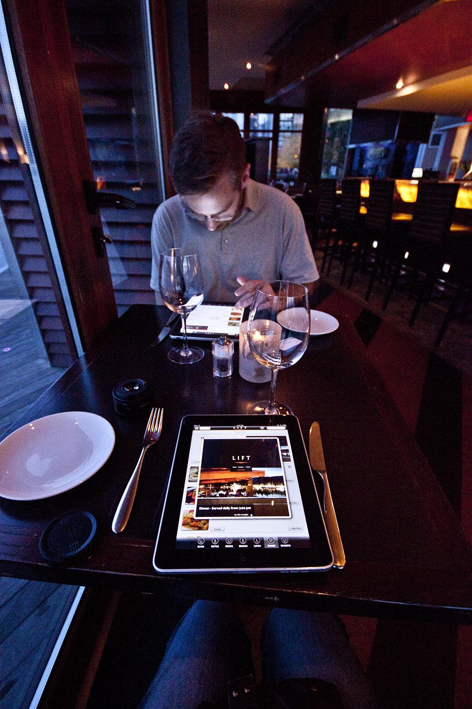 iPad menus at Lift.