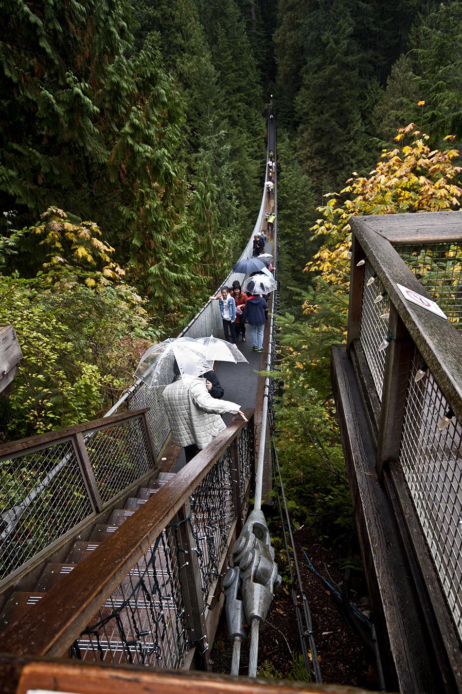 Tourists crossing the Capilano Suspension Bridge.
