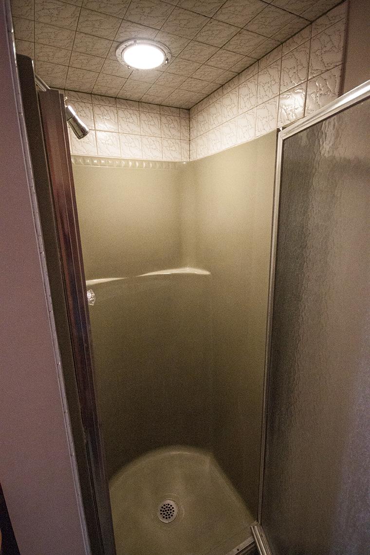Basement shower.