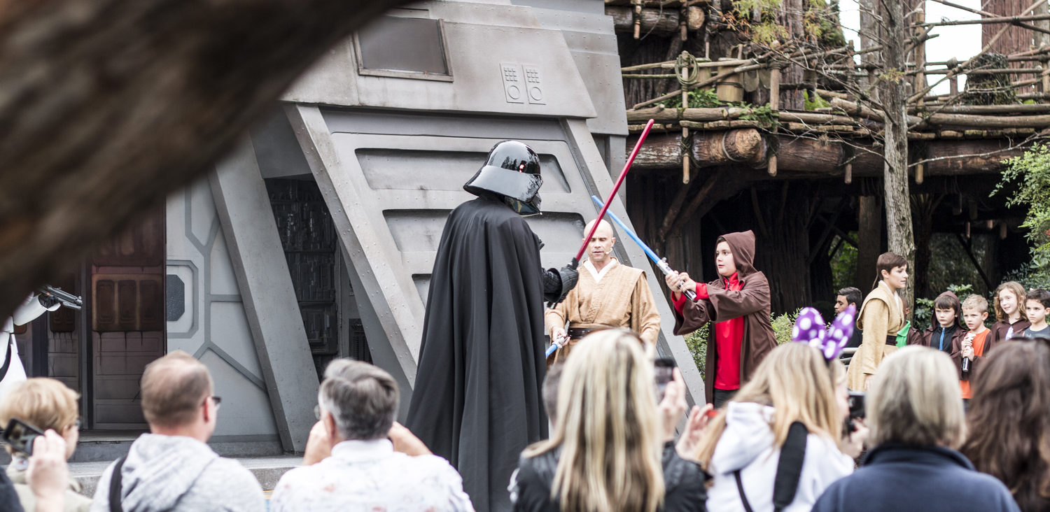 Darth Vader up against one of the younglings.