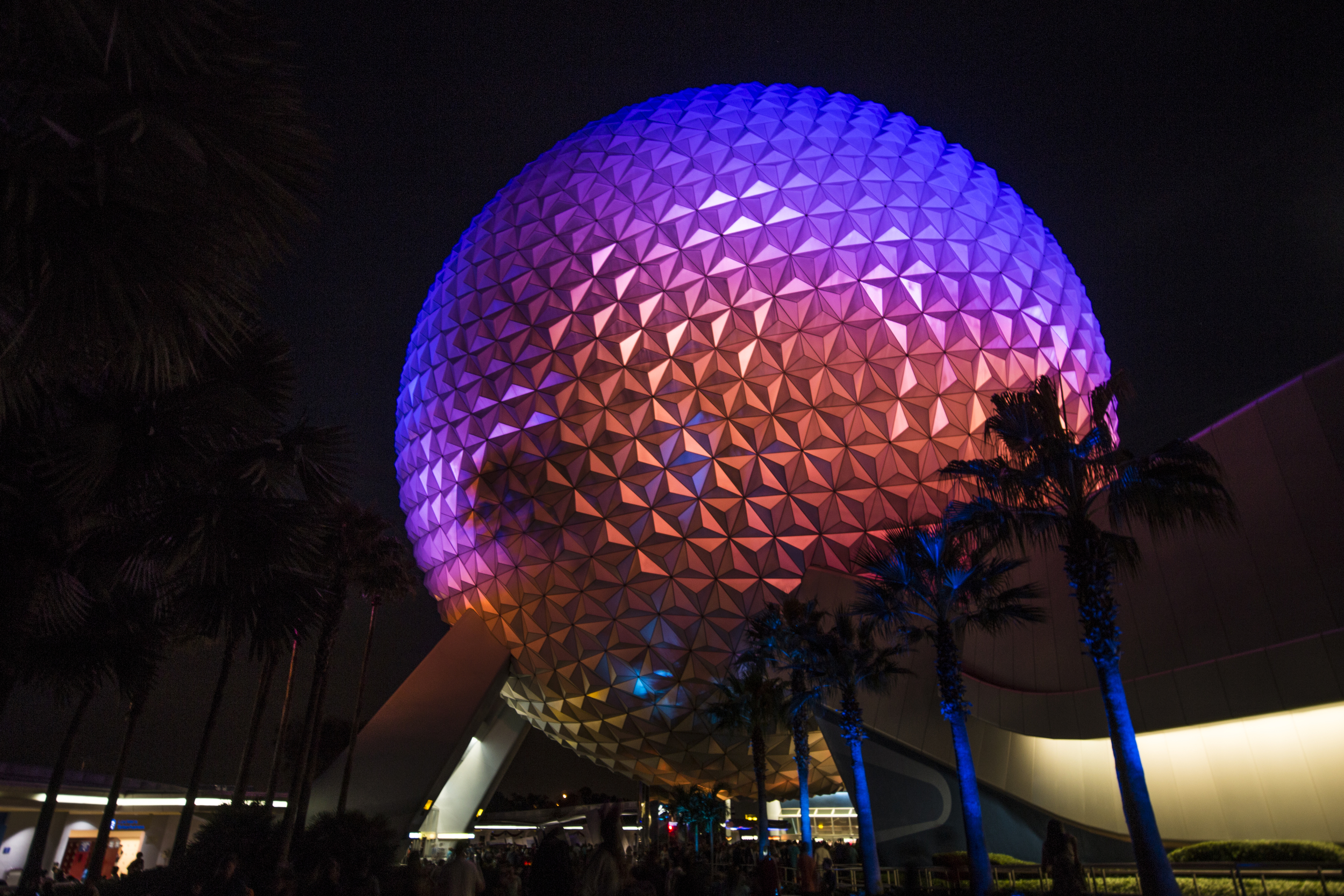 Spaceship Earth at night.