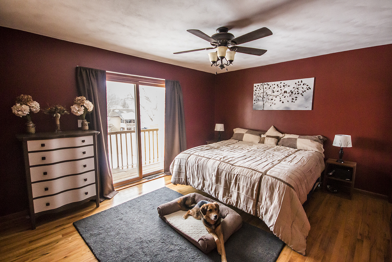 Changed: Dark red paint, dresser, rug, curtains, fan, bed, wall art, lamps