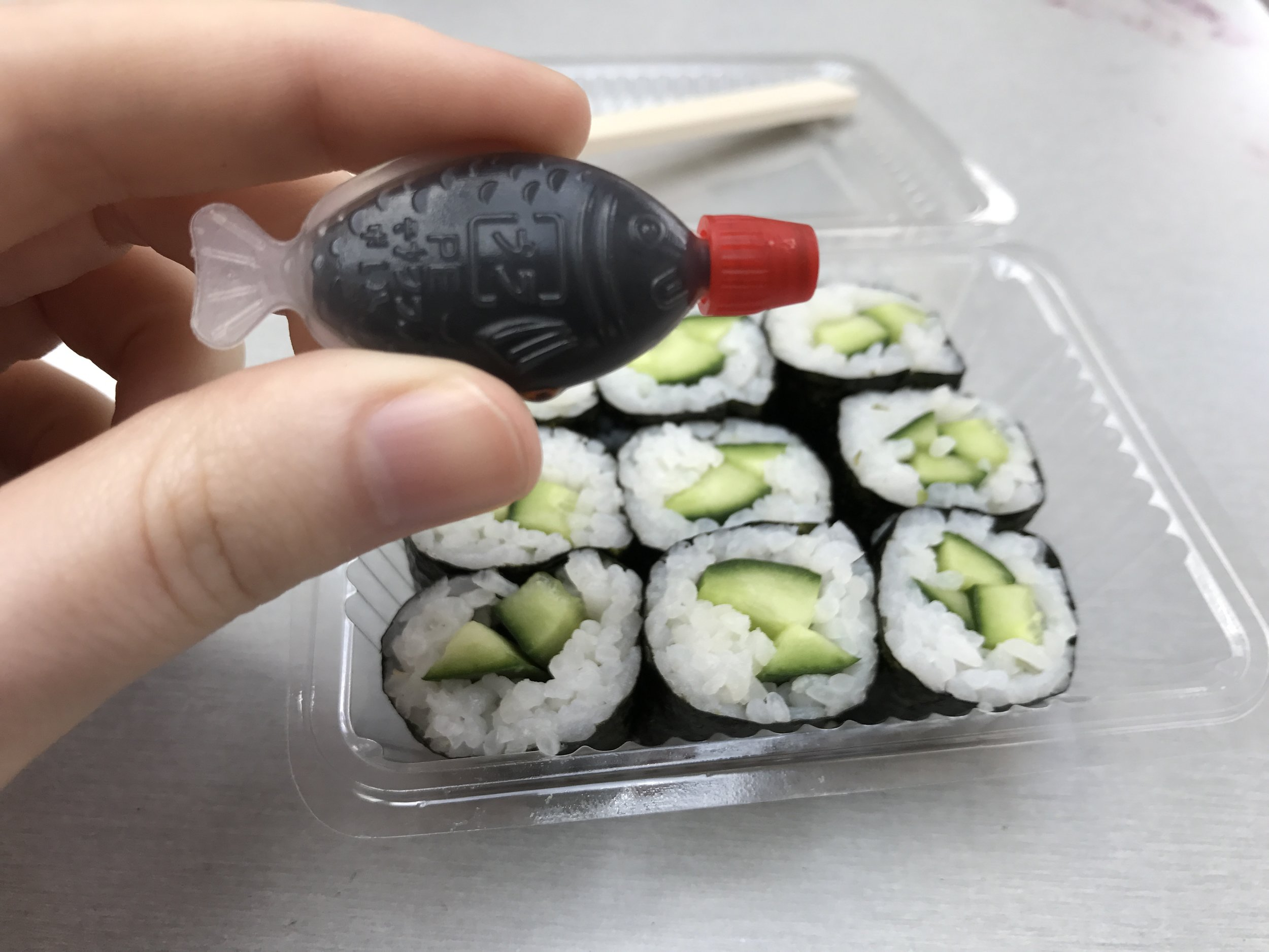 My sushi came with the most adorable soy sauce.
