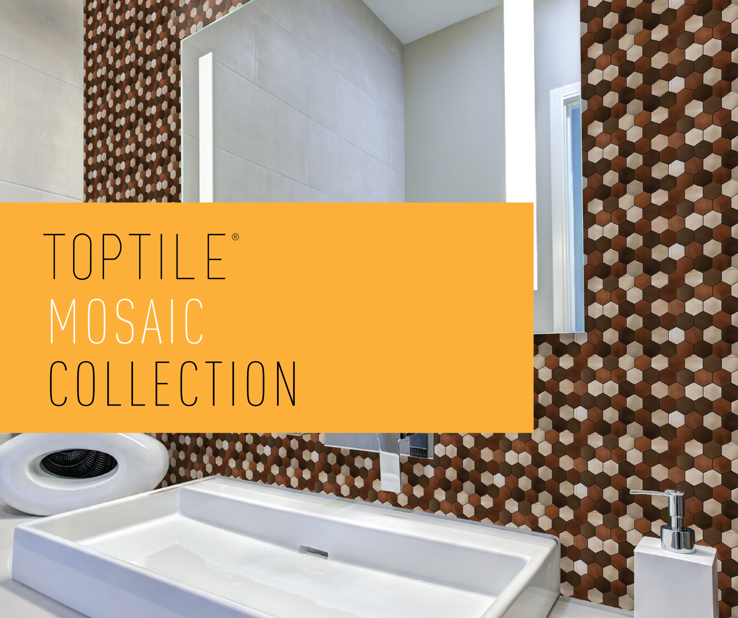 TopTile® Aluminum Composite Series (Small Copper Hexagon Mix) Featured Above.