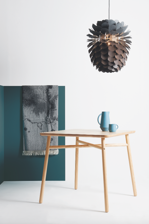 Fafa Table Square with Unsion Ceramic 'Teal', Hazy Blanket & Zappy Smoked Oak